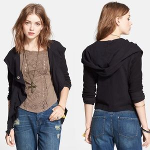 Free People Clementine Lace Inset Hoodie Black S